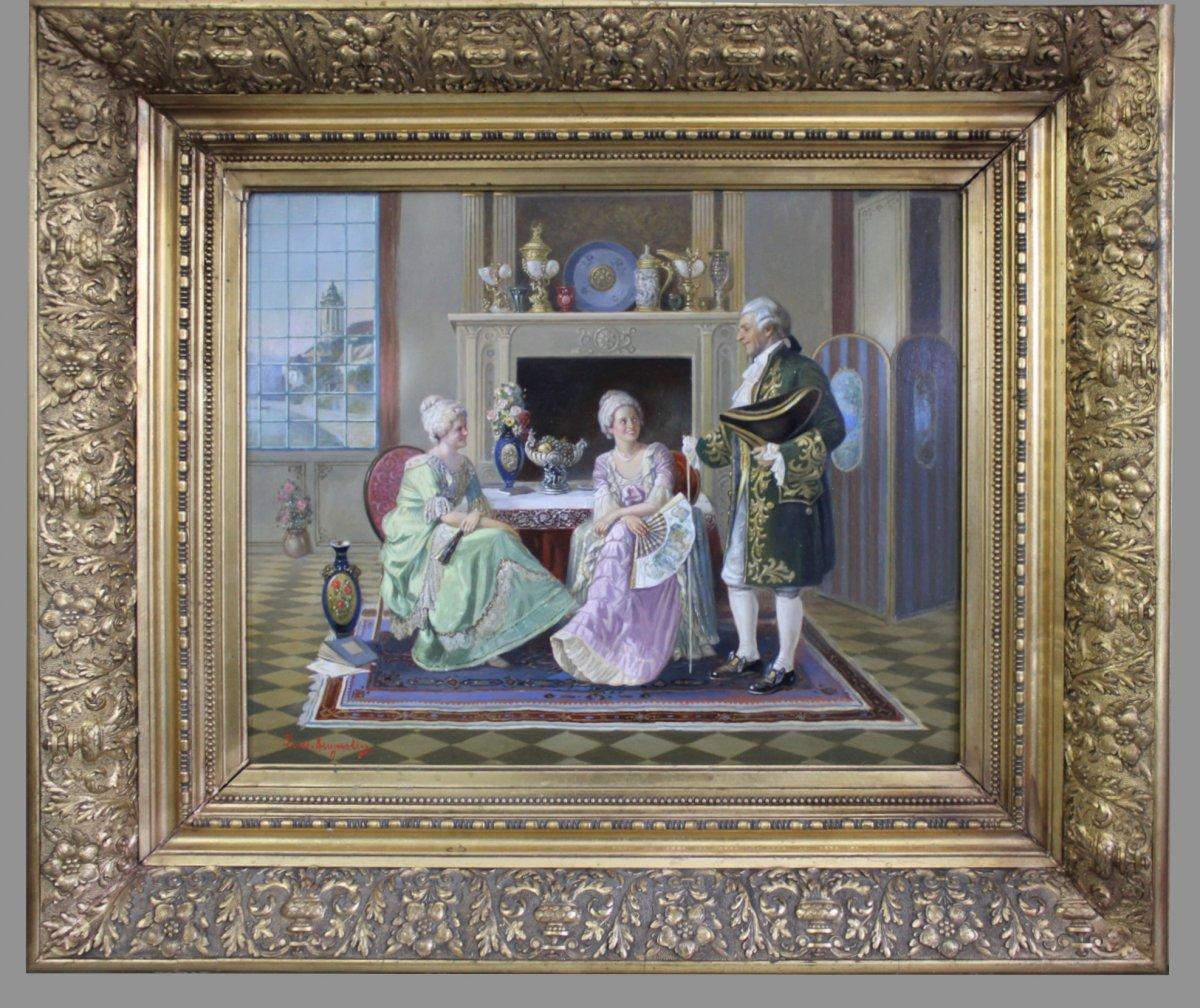Ludwig Augustin 1882–1960 Peintre Autrichien, Peinture à L'Huile De Scène Galante En Vêtements Rococo
