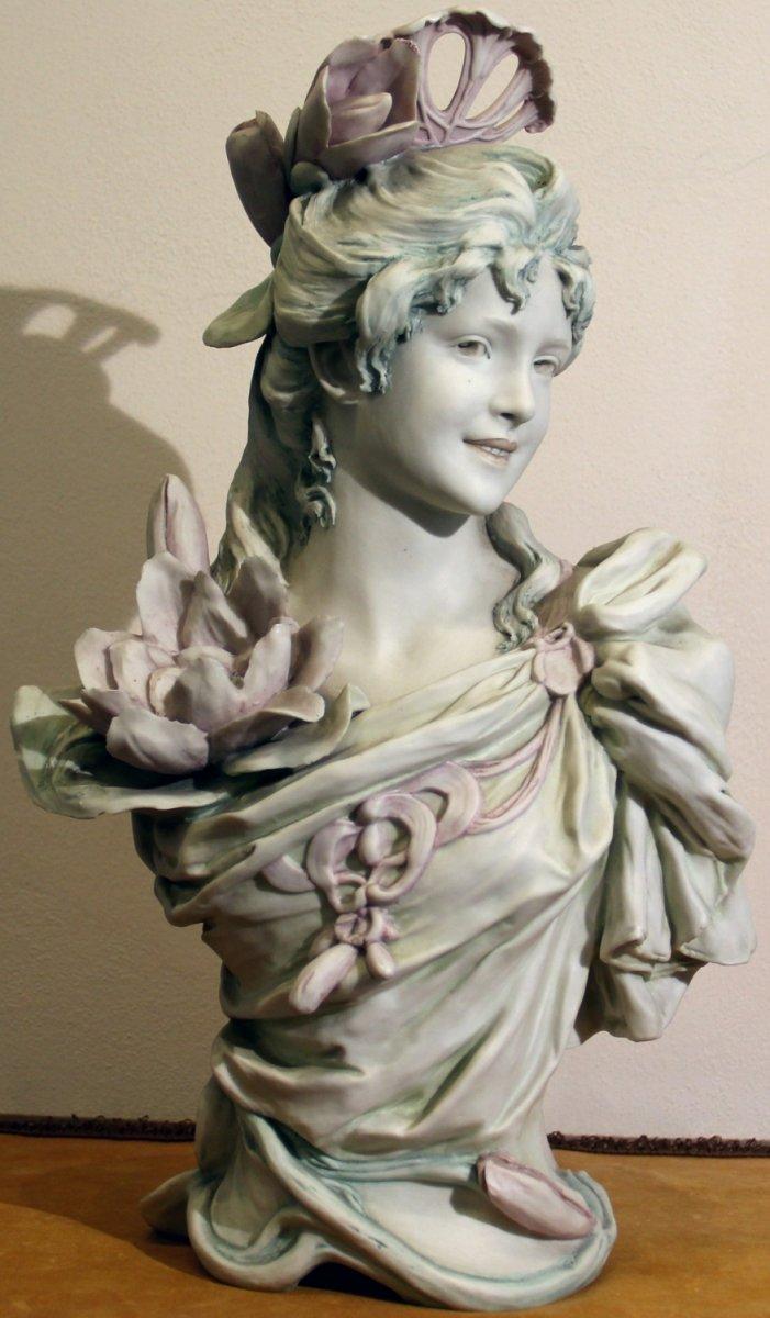 Royal Dux Art Nouveau Bust Of A Girl