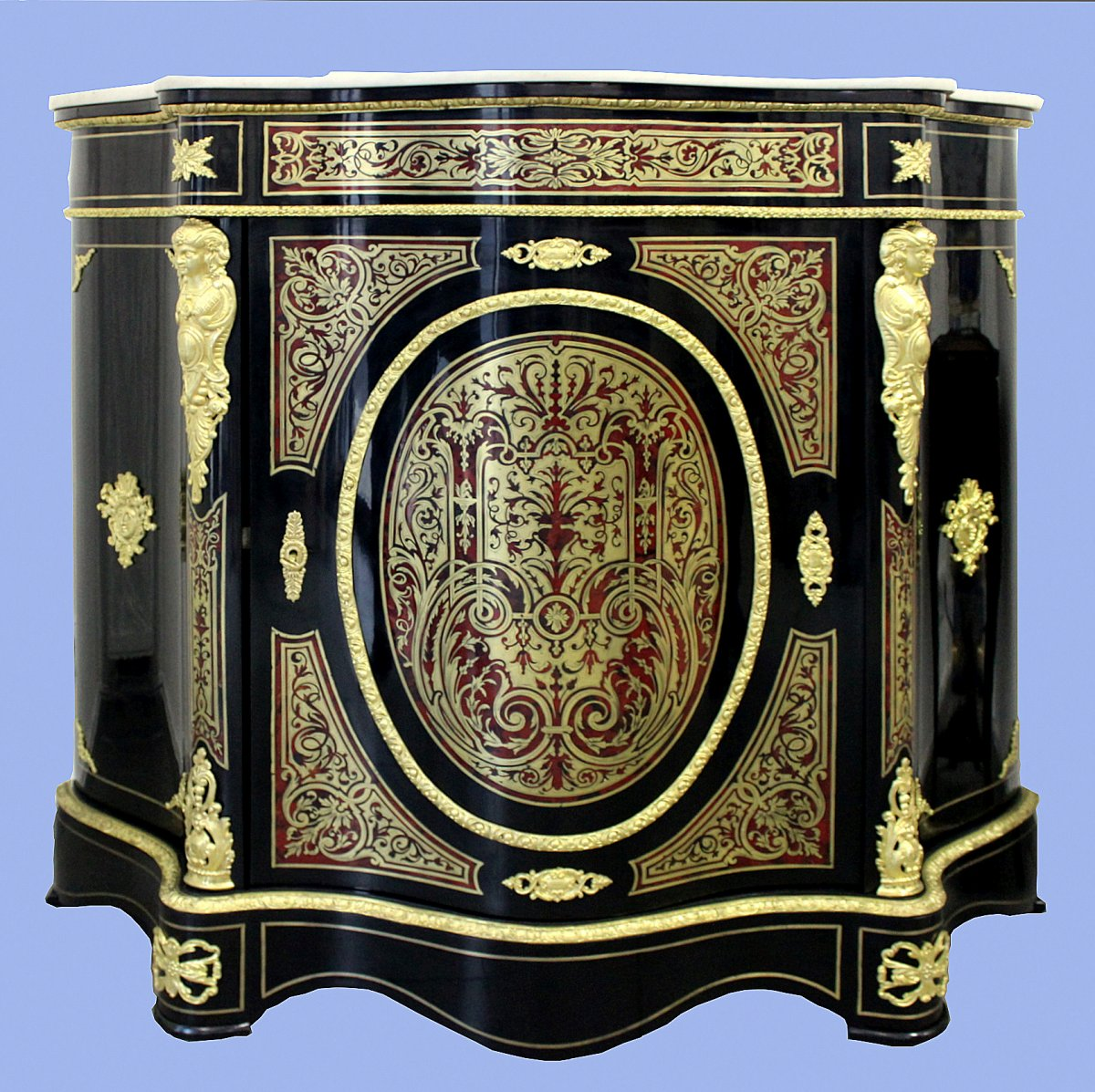 Commode In The Boulle Avec Plaque De Marbre Type Napoleon III France