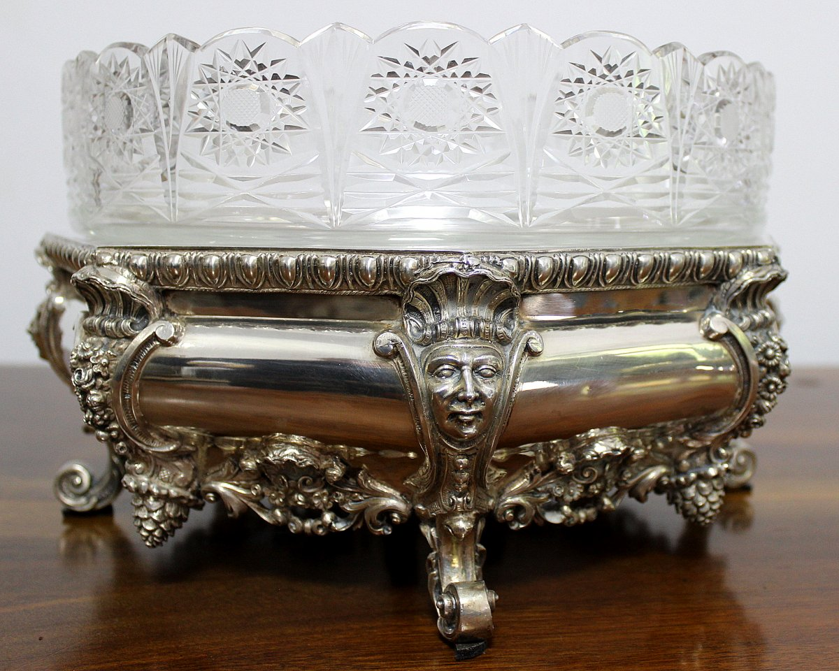 Silver  Jardinere  With Crystal Glass Italy Early 20th Century Weight 2152gr