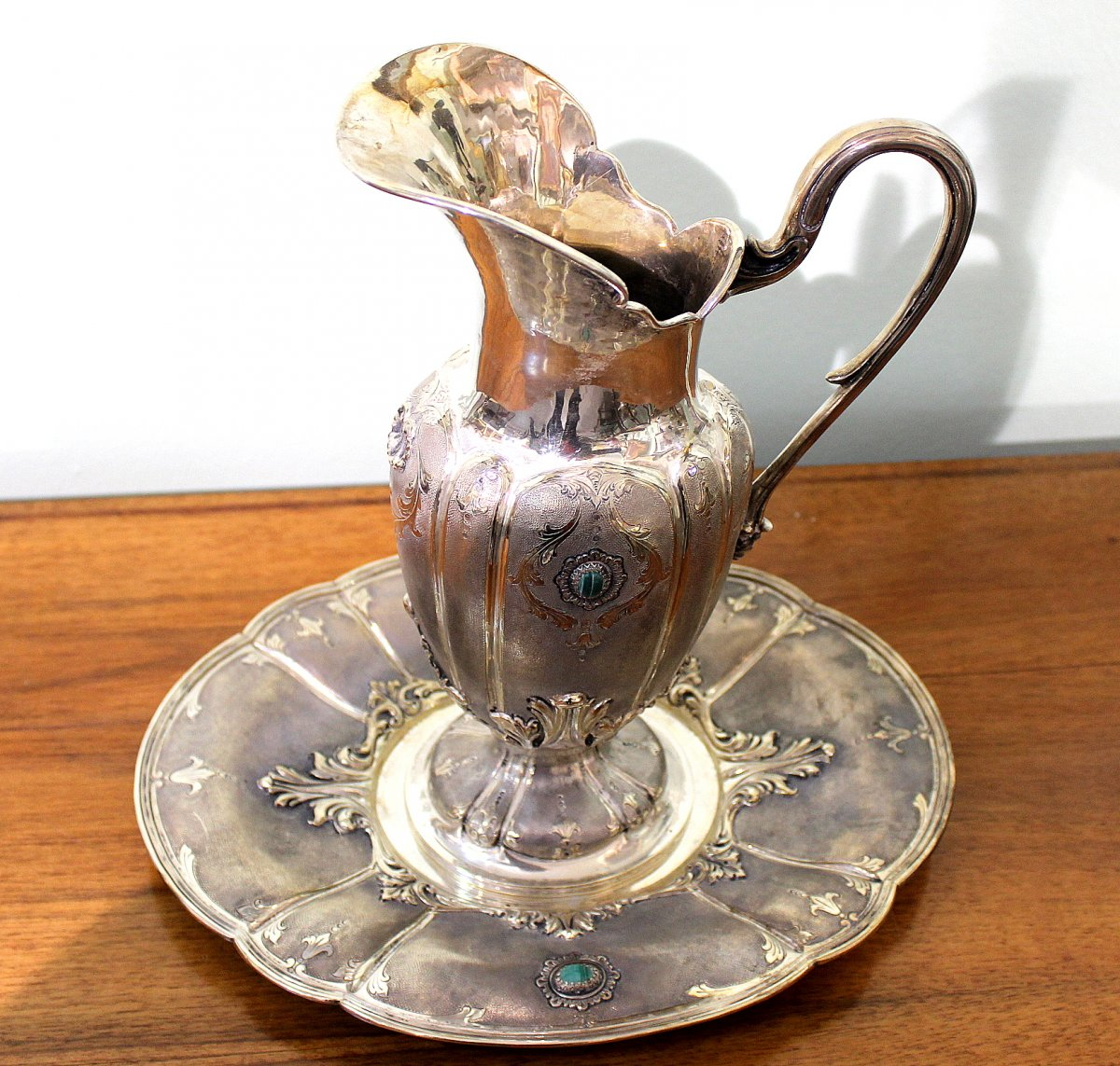 Silver Jug With A Silver Plate Decorated With Malachite