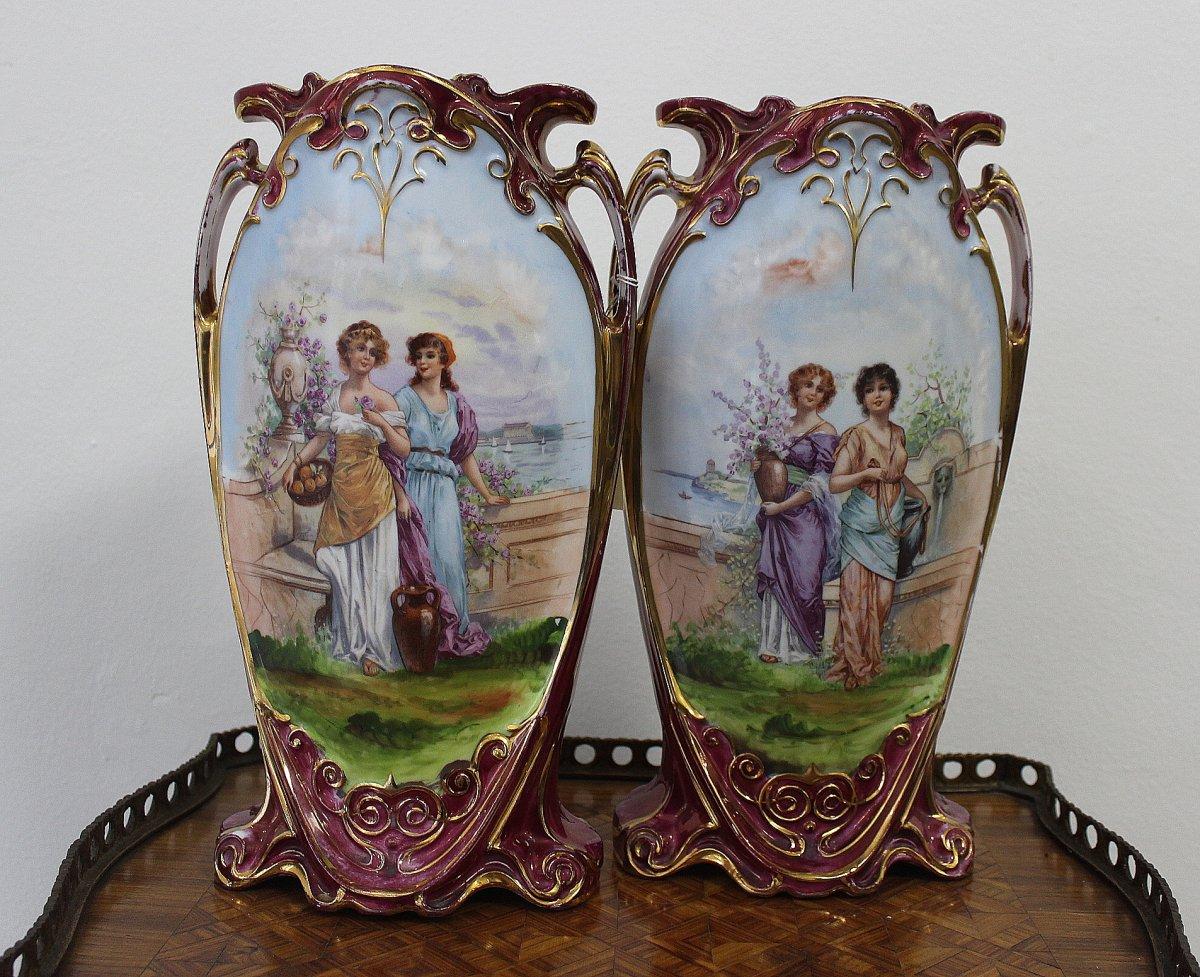 Paire Art Nouveau De Vases En Porcelaine Victoria Carlsbad  Bohéme