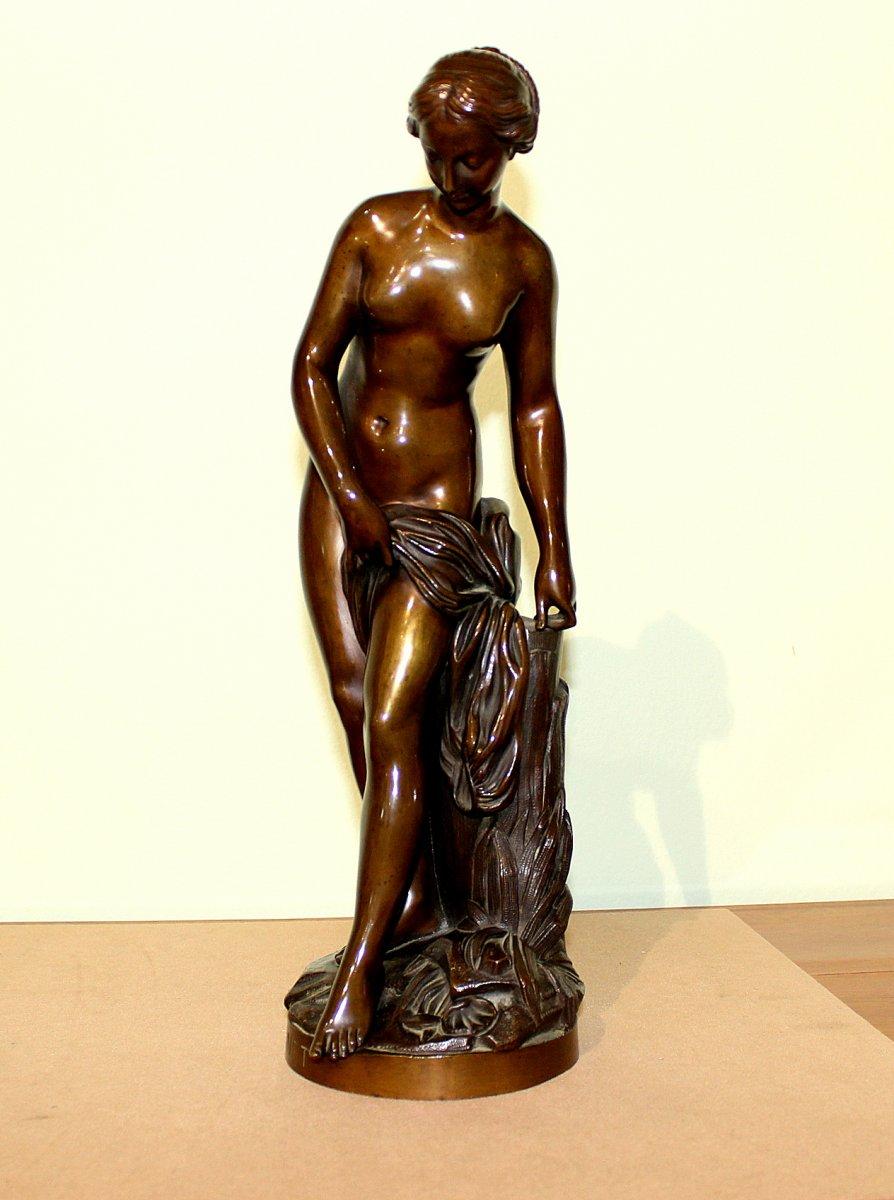 Etienne Maurice Falconet (1716-1791 France)  D'après Statue En Bronze Patiné Foncé d'Une Femme