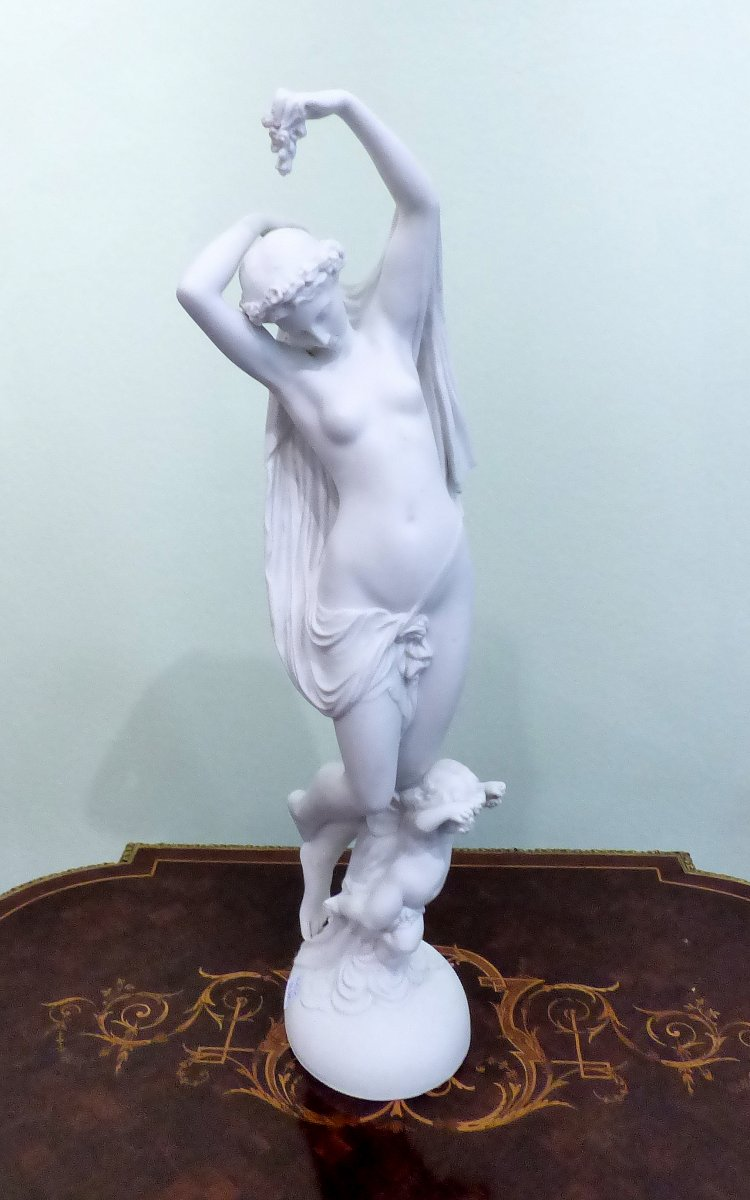 French Biscuit Porcelain Figurine Representing A Woman .height: 55cm