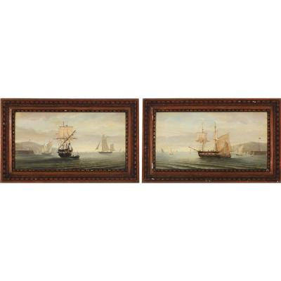 Ferdinand Bonheur French Painter, (1817–1887) A Pair Of Seascapes With Sailing Ships