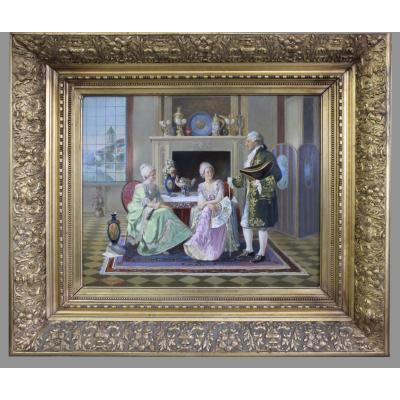 Ludwig Augustin 1882–1960 Austrian Painter, Oil Painting Of Gallant Scene In Rococo Clothing
