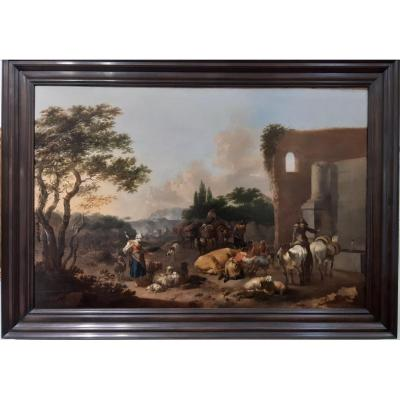 Jan Frans Soolmaker Antwerp 1635-after 1685 In Italy, Herders Resting