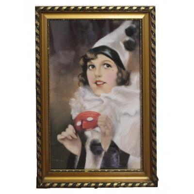 Atntal Diosy 1895-1977 Art Déco Hongrois Dessin Au Pastel De Colombina