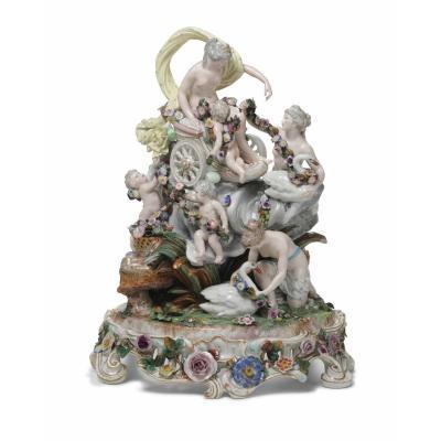 Grand Groupe Mythologique De Porcelaine Avec Vénus, Samson Paris 19 E Siècle  H.57cm