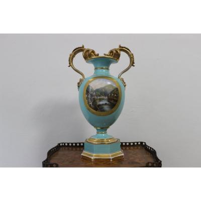 Vase En Porcelaine Pirkenhammer Fisher & Reichenbach Très Rare De La Période 1830