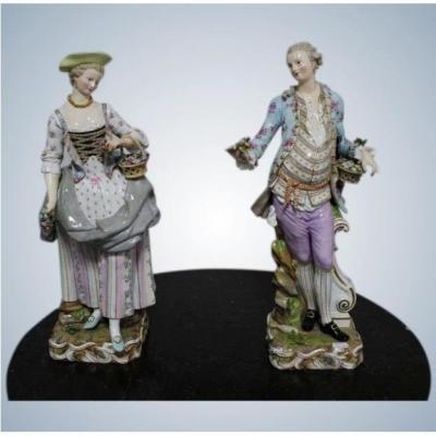 Meissen Paire De Grandes Figures Très Rares En Porcelaine Du 19 ème Siècle 49cm