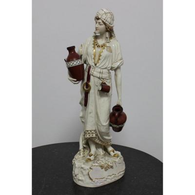 Royal Dux Eichler Large Porcelain Sculpture Of Arab Girl Height 65cm