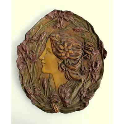 Ernst Wahliss Turn Wien Austrian Art Nouveau Ceramic Sculpture From The Profile Of A Woman