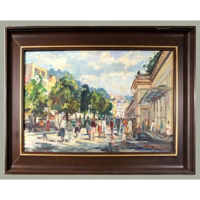 "Professor Oldrich Zezula 1907 - 1980 Czech Painter ""colonnad De Spa à Carlsbad"""