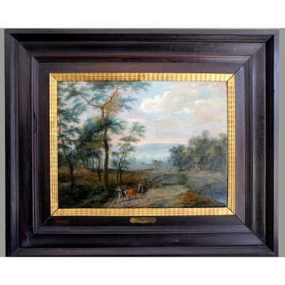 Théobald Michau (Peintre Flamand / Belge, 1676-1765)  Paysage Avec Proxénètes  Et Pèlerins