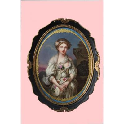 Plaque En Porcelaine De France Motif De Sainte Mary  Madaléne Du 19ème Siècle