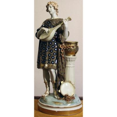 Impérial Amphora Porcelain Figurin Turn Teplitz Austria Art Nouveau Hauter 40cm