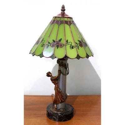 Bergmann Froide Painted Viennois Bronze Lampe Art Nouveau, Hauteur 47 Cm Autriche Signé