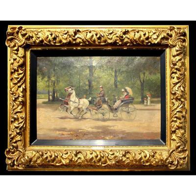 Alfredo Tominz (Trieste 1854–1936) Peintre Italien  Monter Dans Le Parc