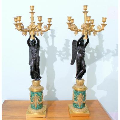 Couple De Candélabres En Bronze Doré  Et Malachite France Napoléon III