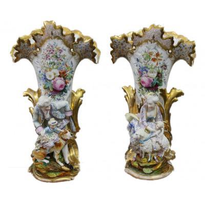 Pair Of Large  Old Paris Vases With Biscuit Figurines Petit Jacob Height 58cm