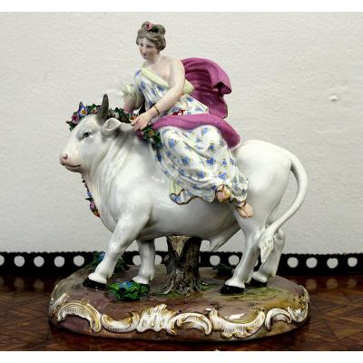 Meissen Porcelain From The XIXth Century. Europe Sitting On The Bull