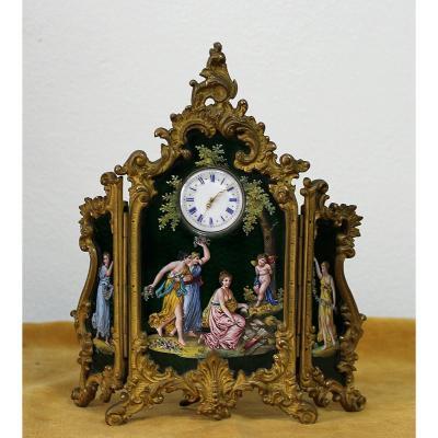 Montre Néo Rococo Viennoise Paravan - Peinture Émail Bronze Doré - Vienne 1860  l'Autrich