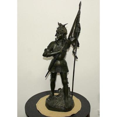 Emmauel  Hannaux (1855-1934) Sculpteur Français  Statue Monumentale En Bronze H. 106cm