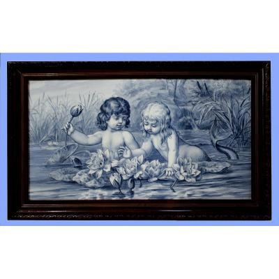 Villeroy & Boch Peint Porcelaine Plaque  d'Une Sirène Et  d'Un Triton