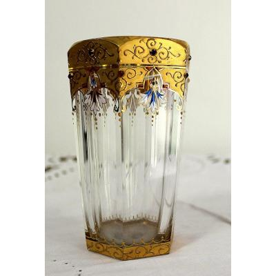 Moser Septagon Golden Glass With Precious Stones Collector's  Item 19th-century
