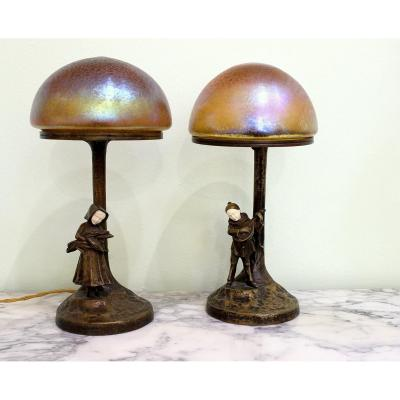 Peter Tereszczuk (austrian 1895-1925) A Pair Of Bronze Table Lamps With Vienna Figurines