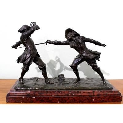 Edouard Drouot (1859-1945) French Sculptor Bronze Statue Of The Musketeers