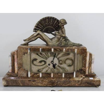 Art Deco Large French Mantel Clock With A Bronze Lady With A Fan Length 58cm