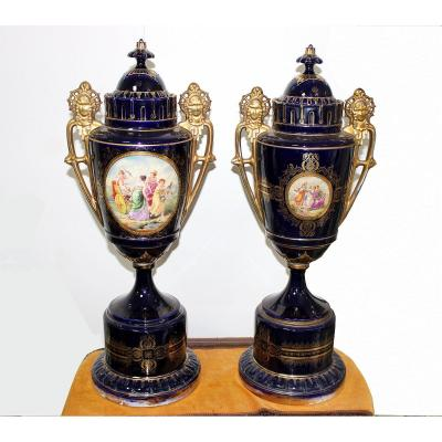 Royal Vienna Style A Pair Of Monumental Porcelain Vases. Germany Around 1880. Height: 76cm