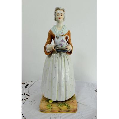 """Meissen Rare Figurine En Porcelaine"""" La Chocolatière Vers """" 1840 Hauteur 40cm"""