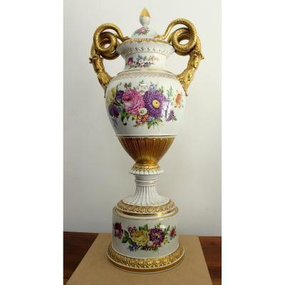 Potschappel Dresden Imposant Vase En Porcelaine Hauteur 93 cm Allemagne