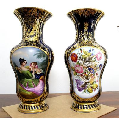 Pair Of Decorative Vases In Porcelain Painted France Early 20th Century Height: 48cm