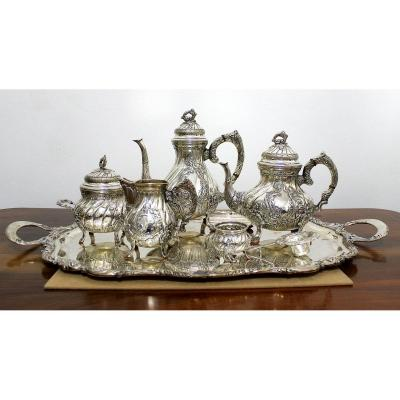Six Parts  Heavy Silver Service Milan Italy First Half Of The 20th Century