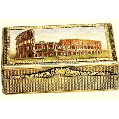 The  Micromosaic Snuffbox 'the Colosseum' By Domenico Moglia (1780-1862) Gilded Silverr And 18k Gold.