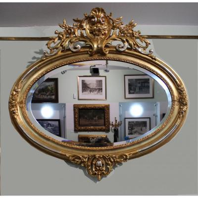 Rococo Mirror In Golden Wood With Golden Blades, Length 95cm Austria Second Half Of The 19th Century