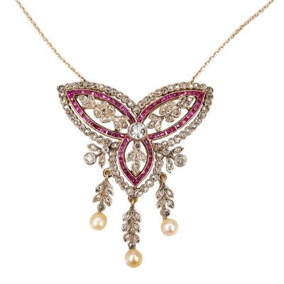 Very Luxurious Necklace Decorated With The Highest Quality Of  Burmese Rubies (formerly Myanmar) , Cut Diamonds And Pearls.