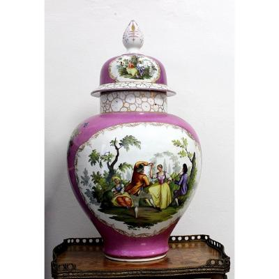 Dresden Saxony Very Large Porcelain Lid Vase Height 66cm 19 Th Century Signed Ar