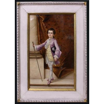 Very Detailed Hand Painted Porcelain Plaque  By Little Mozart, Perhaps Kpm