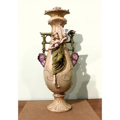Royal Dux Eichler Large Art Nouveau Vase Marked By  Eichler Year 1900 Height 61 Cm