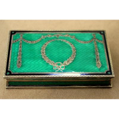 Empire Silver And Green Enamel Box
