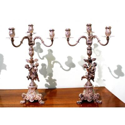 A Pair Of Silver  Three Arms  Candlesticks With Two Little Angels Total Weight 6034 G