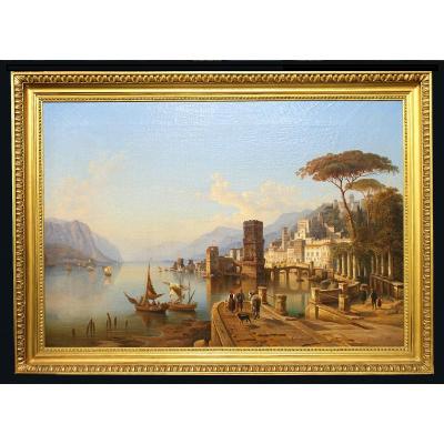 Heinrich Karl Jäckel( Jaeckel )(1842 - 1876) Peintre Allemand Lac De Côme (lago Di Como)