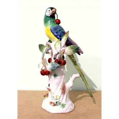 Meissen Porcelain Statue Of An Art Deco Cherry Parrot Height 30.5cm