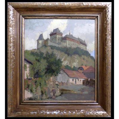 Peintre Tchèque  V. Čížek Château De Karlštejn