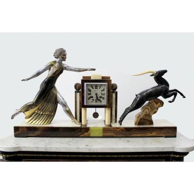 Art Déco  Monumental Bronze Horloge